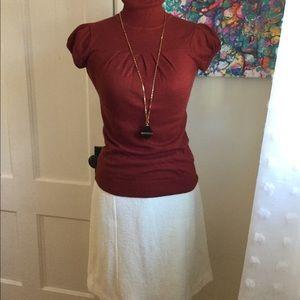 Ann Taylor Winter White Boiled Wool Skirt Sz 2P